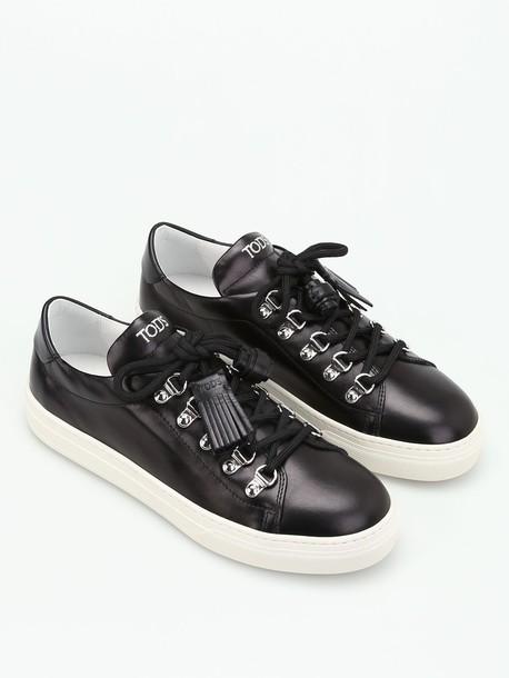tassel sneakers leather black shoes