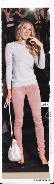 pink pants skinny pullover