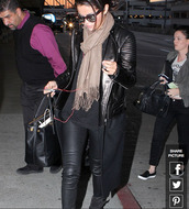 jacket,selena gomez,leather jacket,wool jacket,wool and leather coat,scarf,jeans,top