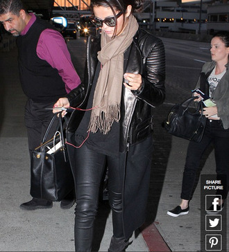 jacket selena gomez leather jacket wool jacket wool and leather coat scarf jeans top