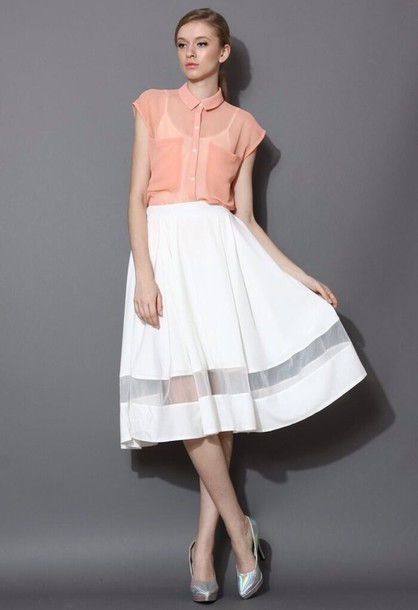 fb1680667 skirt, organza panel, white midi skirt, white skirt, maxi skirt ...