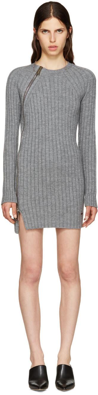 dress sweater dress zip wool grey