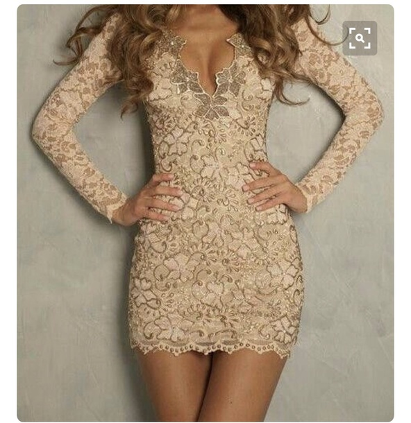 105ba8e78bd5 dress nude dress lace longsleeve dress sequin dress long sleeve dress  bodycon dress girly crochet sparkly