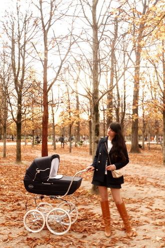 the cherry blossom girl blogger coat sweater skirt bag shoes