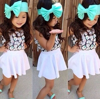mini diva skirt bows blue sandals shoes white cute fashion tank top top t-shirt shirt hair accessory floral crop top kids fashion hair bow mint baby clothing dress