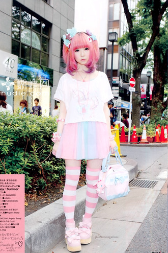 skirt japan japanese cute pink jewelry necklace t-shirt bracelets bag pets socks shoes white blue blouse