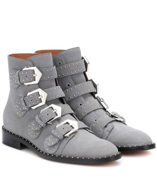Givenchy suede ankle boots elegant embellished ankle boots suede grey shoes