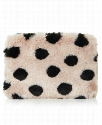 bag clutch wallet fluffy polka dots winter swag