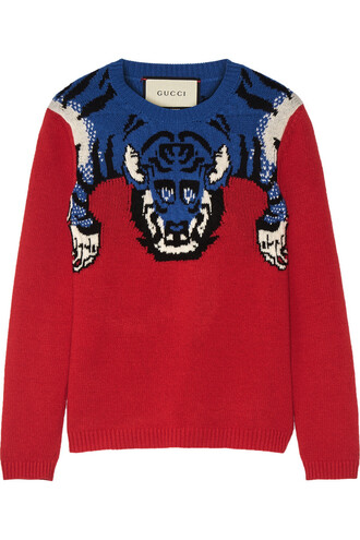 sweater wool sweater embellished wool red