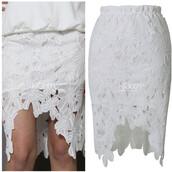 skirt,kcloth,hi low dresses,hi low skirt,pencil skirt,white,Flower lace