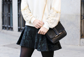 skirt,black,green,lace,skater skirt,clothes,sweater