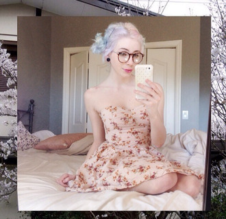 dress pink pastel dress kawaii metal stretched ears ear plug strapless dress floral dress hipster glasses cute cute dress harajuku lovely pastel grunge pastel goth lovely dress flowers spring spring outfits japanese fashion weird punk alternative quirky suicide girls cute girl summer dress sundress casual dress pastel hair pastel pastel hipster strapless boho