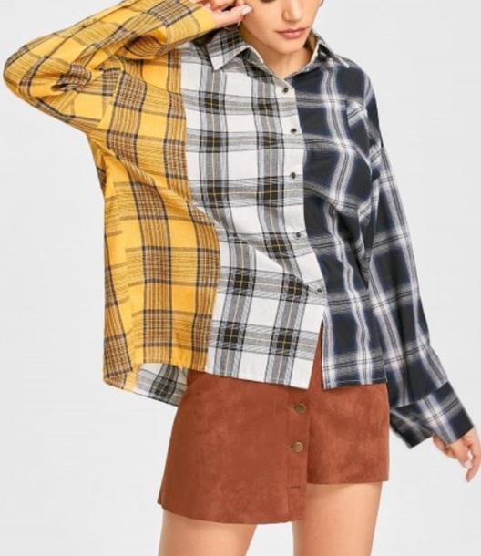 blouse girly plaid plai plaid shirt button up button down shirt yellow black checkered checked shirt checkered shirt