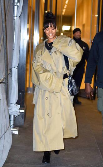 coat trench coat rihanna streetstyle