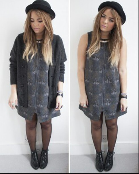 dress grunge grey blue