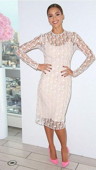 dress lace dress jessica alba pumps pink heels