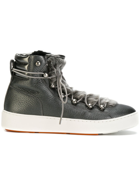 fur women sneakers lace leather grey shoes