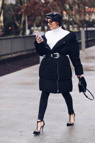 coat black coat top turtleneck shoes beret white top jeans denim black jeans heels high heels black heels