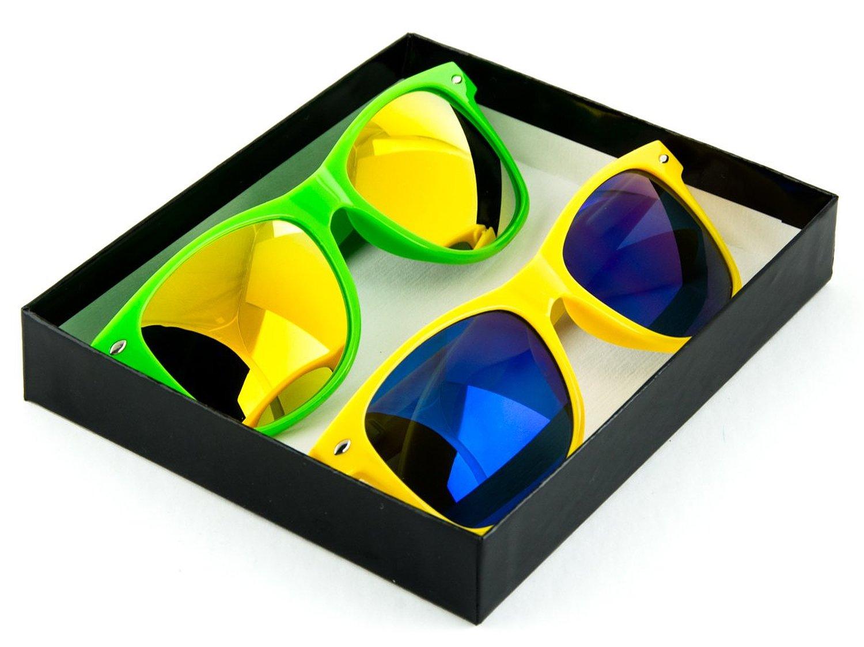 Amazon.com: Reflective Color Mirror Lens Neon Color Wayfarers Style Sunglasses: Clothing