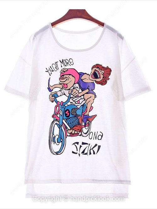 White Round Neck Short Sleeve Cartoon People Print T-Shirt - HandpickLook.com