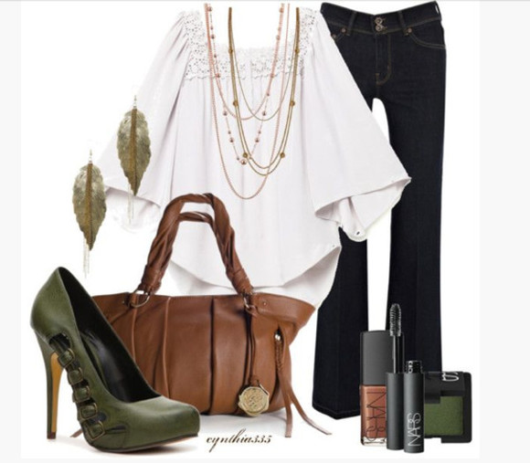 bag buckles shoes high heels buckled shoes pumps green heels purse earrings top blouse shirt square neck necklace pants jeans three quarter sleeves lace neckline clothes outfit