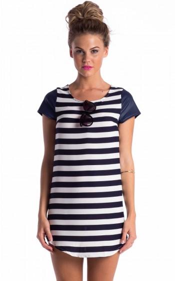 Boat party dress in navy white stripe