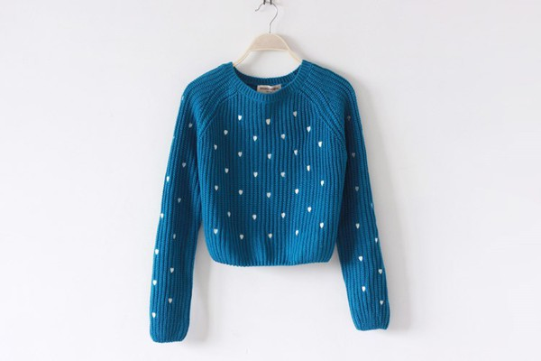 sweater cropped sweater knitwear petrol petrol