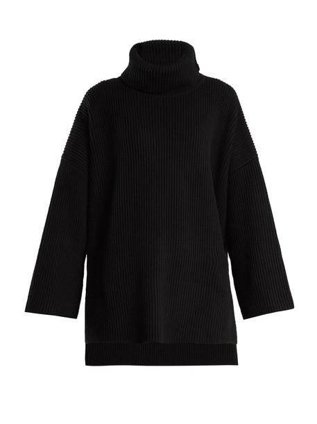 Joseph poncho cotton wool knit black top