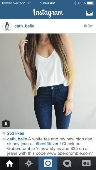 jeans white top t-shirt abercrombie & fitch high waisted jeans