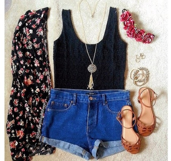t-shirt fashion style brown jewels cute sweater shoes black shorts flower crown top tank top cardigan denim shorts floral