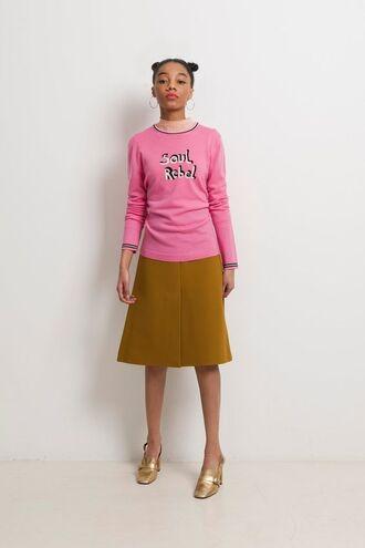 sweater bella freud pink sweater skirt midi skirt mustard skirt shoes gold shoes hoop earrings earrings