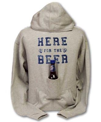 Beer hoodie sweatshirt with beer pouch