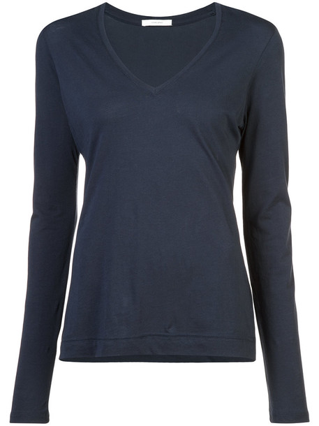 Adam Lippes - long-sleeved v-neck top - women - Supima Cotton - XS, Blue, Supima Cotton