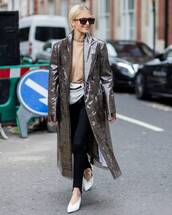 pants,streetstyle,black pants,caro daur,stirrup pants,shoes,white shoes,coat,grey coat,long coat,grey long coat,sunglasses