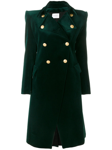 coat double breasted women spandex cotton green
