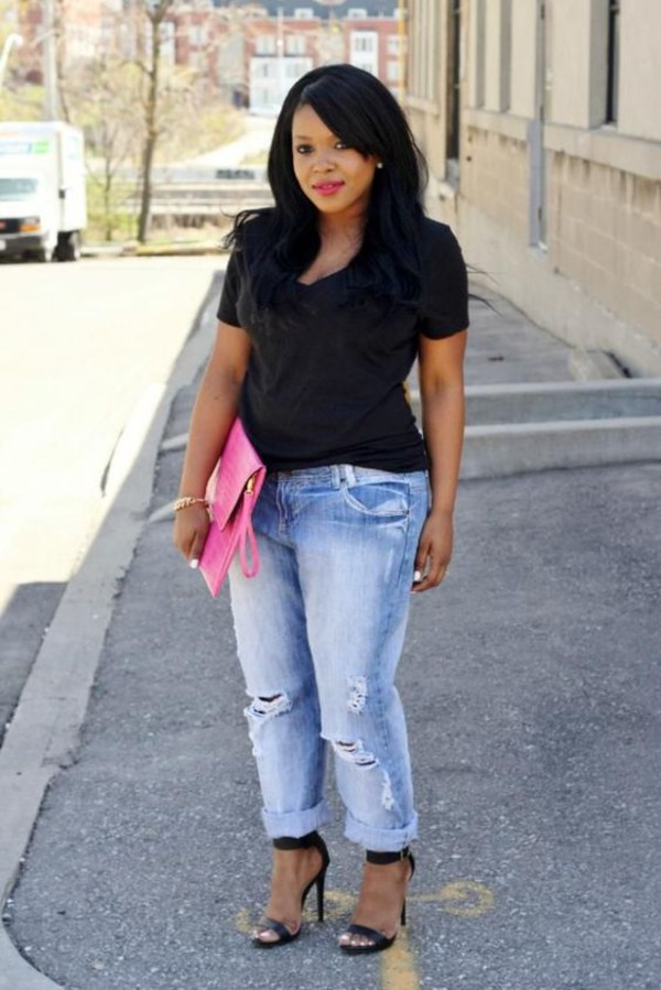 jeans, petite girls, pink clutch, ripped jeans, plus size ...
