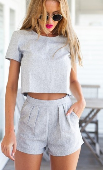 shirt shirtandshorts twopwiceset twopeice twopeiceset two-piece plaincolour grey and shorts cute nice