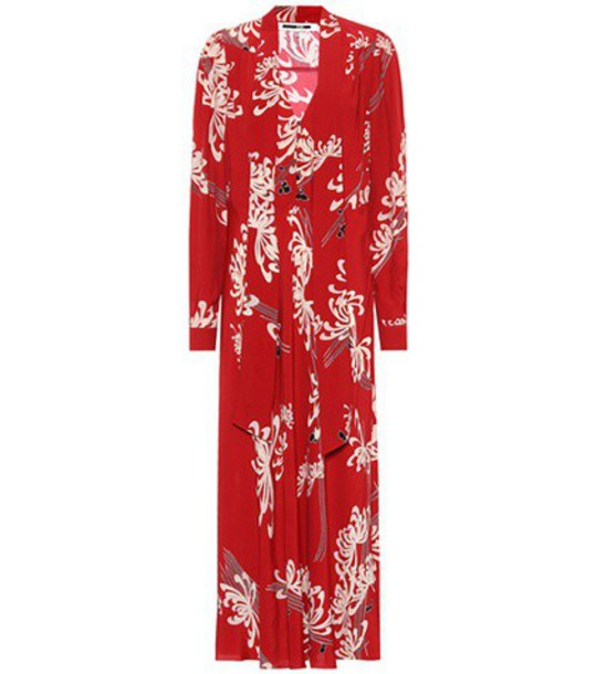 dress printed dress japanese floral red