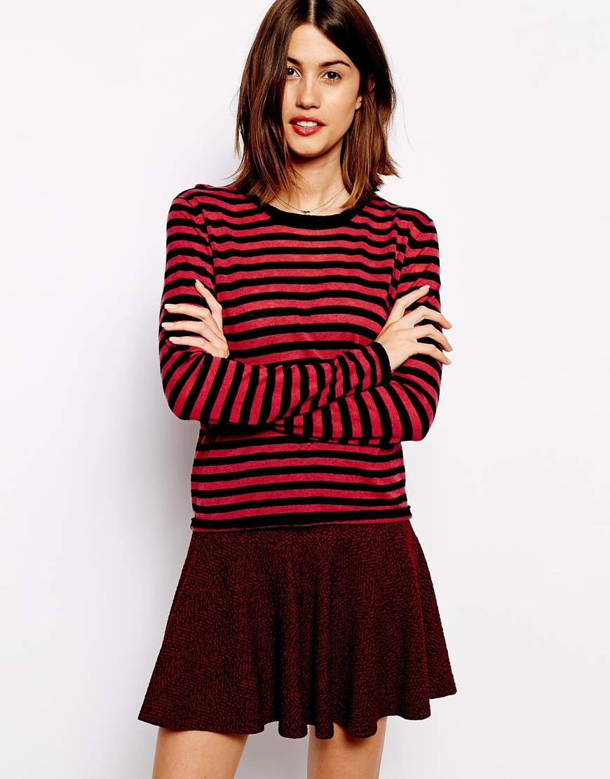 Ganni jumper in stripe merino wool at asos.com
