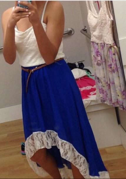 dress blue and white lace dress