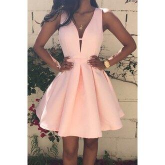 dress fashion style trendy cute peach summer feminine stylish short dress adorable outfit rose wholesale-jan