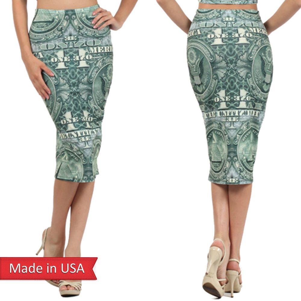 New American One Doller $1 Bill Money Print Bodycon High Waist Pencil Skirt USA