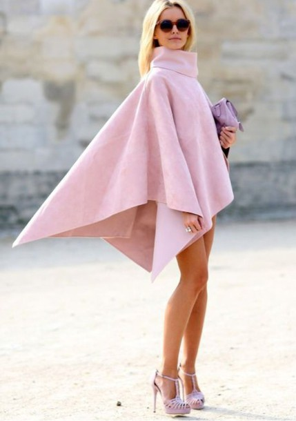 coat pink pastel pink top baby pink turtleneck dress flowy poncho tumblr shirt turtleneck classy blouse light pink shawl dress