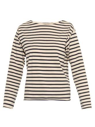 t-shirt shirt long navy cream top