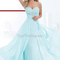 Beading outside gown light blue lace women evening dress