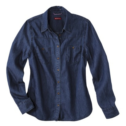 Merona® Women's Denim Shirt w/Box Pleat - As... : Target