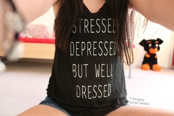 tank top black stressed cute shirt but well dressed