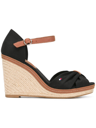women sandals wedge sandals leather black shoes