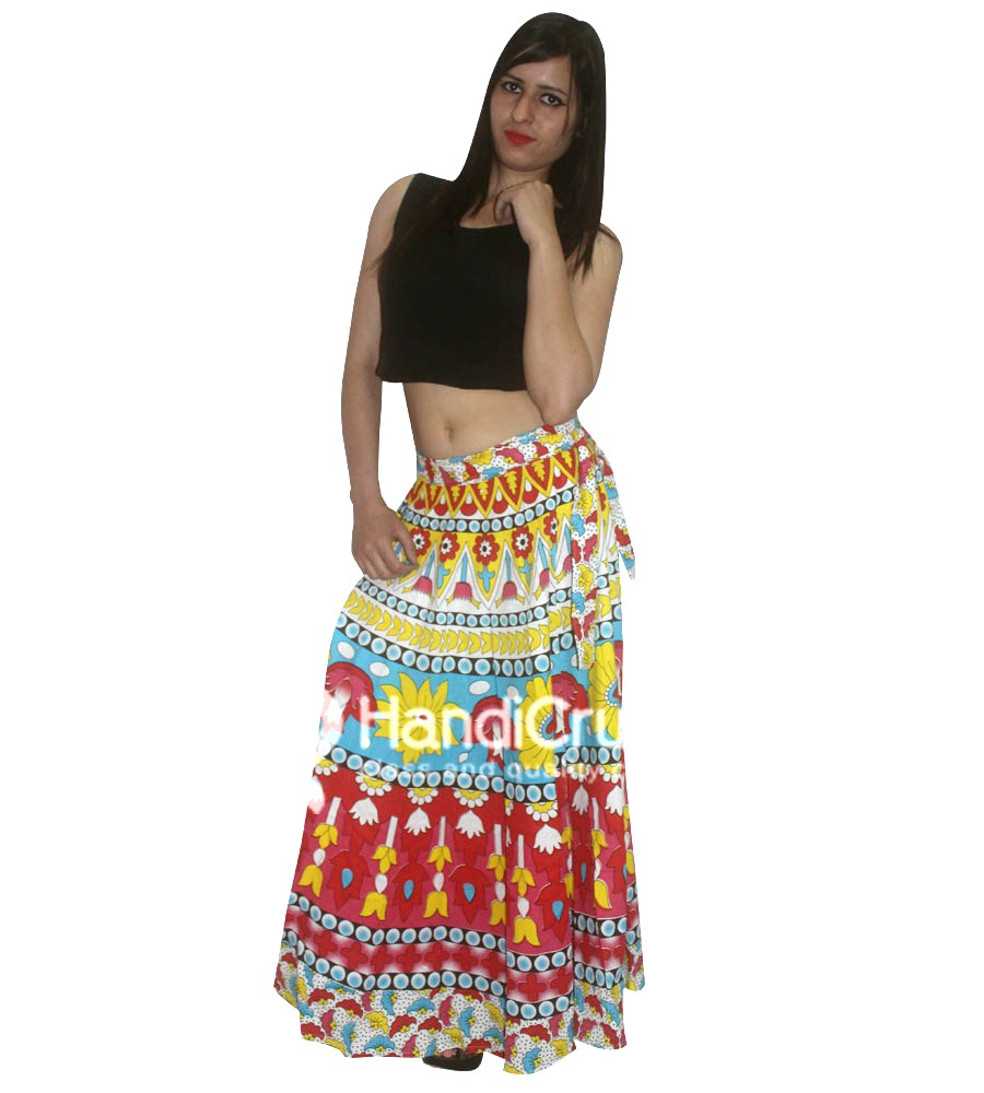 Colorful Flower Printed Long Wrap Skirt