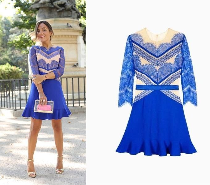 Nude and Blue Lace Ruffle Dress Contrast Lace Panel s M L | eBay